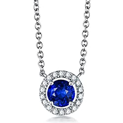 White Gold Diamond Studded Blue Sapphire Pendant