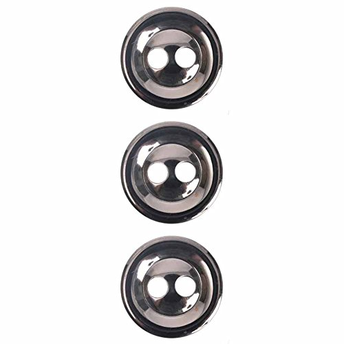 Mibo ABS Metal Plated Dome Rim & Center 2 Hole Button Assorted Size Packs 38 mm 3-Pack