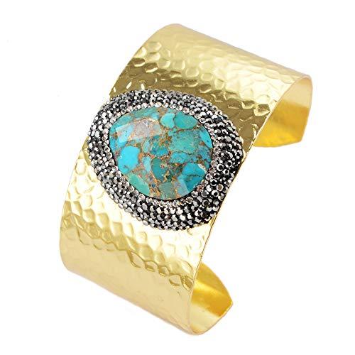 ZENGORI 1 Pcs Drop Black Agate Druzy Cuff Bangle Bracelet Zircon Paved (Gold-Turquoise)