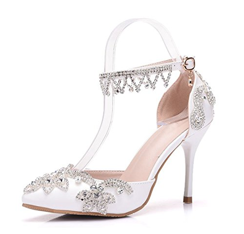 Minishion Womens Pointed Toe Satin Applique Bridal Wedding Ankle Chains Shoes White-10cm Heel 2RCsN