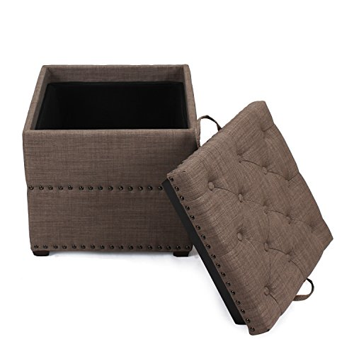 Asense Square Fabric Ottoman with Tray Storage Square Cube Ottoman Footstool Cubic, Brown