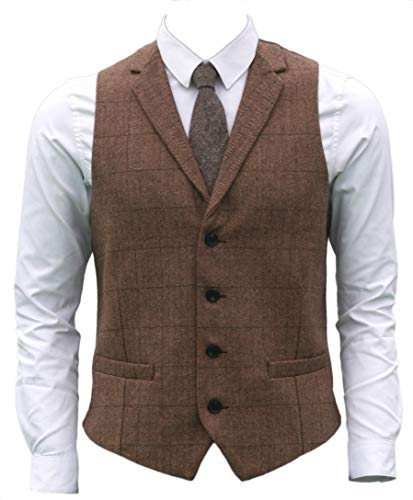 Brown Plaid Suit - Ruth&Boaz 2Pockets 4Buttons Wool Herringbone Plaid Tailored Collar Suit Vest (L, Camel)