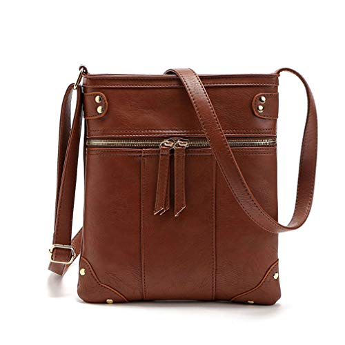 Shoulder 23x23cm Mujeres Cremallera Brown PU Messenger Doble Bag Brown Bags X8q8TR