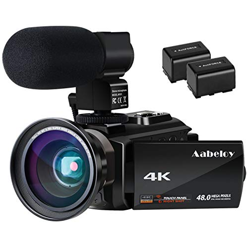 4K Camcorder, Aabeloy Vlogging Video Camera Ultra HD Wi-Fi Digital Camera 48.0MP 3.0 inch Touch Screen Night Vision 16X…