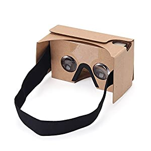 Virtoba Google Cardboard Kit V2 3D Virtuelle Réalité Cardboard Lunettes en Carton 3D VR Cardboard Glasses avec pad nez, pour 3,5-6,0 pouces Android et iOS Smartphones