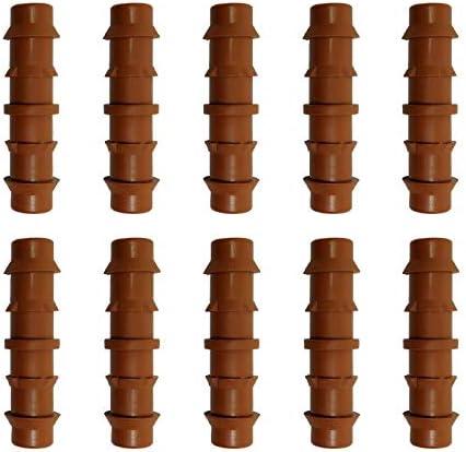 Riegopro Enlace Goteo Marr/ón 16mm Bolsa de 10 Unidades para Riego por Goteo y jardiner/ía