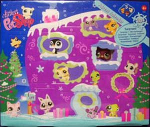 Littlest Pet Shop Figures Exclusive 2008 Advent Calendar with 3 Pets (Including Purple Penguin!) (Puppies Calendar 2008)