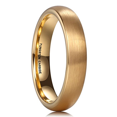NaNa Chic Jewelry 18K Gold Plated 4mm Tungsten Carbide Ring Wedding Engagement Band Brushed Domed for Women Comfort Fit(6.5) by NaNa Chic Jewelry