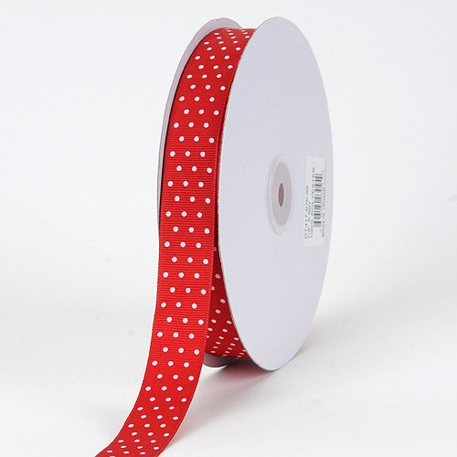 - BBCrafts Red with White Dots Grosgrain Ribbon Swiss Dot 5/8 inch 50 Yards