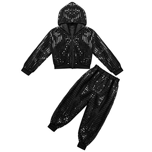 dPois Boys Girls' Hip-hop Jazz Performance Sparkly Outfits Shiny Sequined Long Sleeves Hooded Jacket with Pants 2PCS Set Black 12-14 -