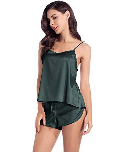 (MANCYFIT Satin Pajamas for Women Cami Shorts Lingerie Set Sleepwear Green XXL)