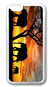 MOKSHOP Adorable Elephants Silhouette Soft Case Protective Shell Cell Phone Cover For Apple Iphone 6 Plus (5.5 Inch) - TPU Transparent