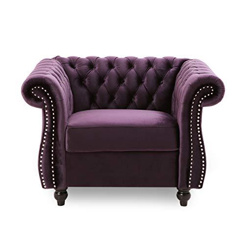 Leila Chesterfield Velvet Club Chair, BlackBerry