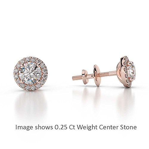 Or Rose 18 carats 0,66 CT G-H/VS sertie de diamants taille ronde Halo Boucles d'oreilles Agder-1010