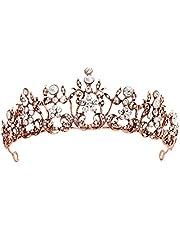 Lurrose Tiara Crown Kristal Strass Bloem Koningin Kroon Prom Tiara Bruiloft Tiara's Bruid Diadeem voor vrouwen Meisjes (Rose Goud)