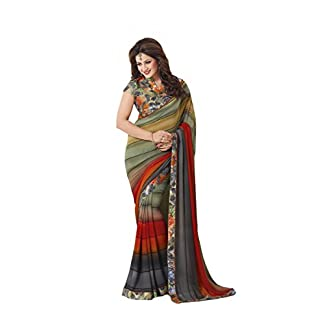 Palav Fashion Women's Georgette Saree with Blouse Piece 41axjZ55VqL