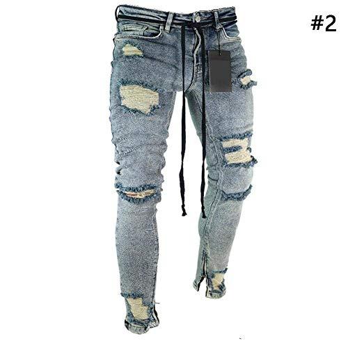 HX fashion Pantalones De Mezclilla para Hombre Pantalones Vaqueros Rasgados Tamaños Cómodos Jeans Pantalones De Mezclilla Pitillo para Hombre Pantalones De Mezclilla Pitillo Ropa Blau