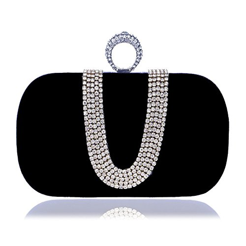Ladies Evening KERVINFENDRIYUN Cute U shaped Color Bag Clutch Fashion Black Diamond Handbag Banquet Black Bag Purse Mini Small Btw1q