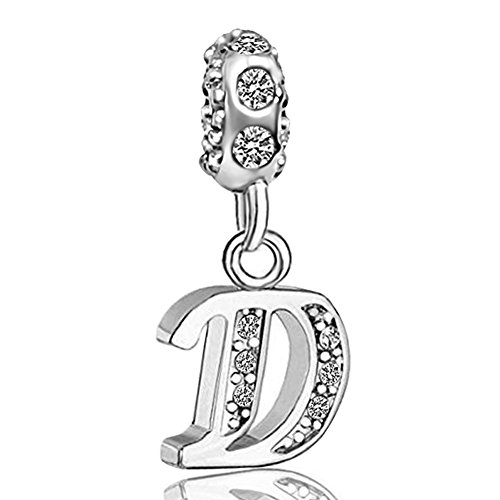 JMQJewelry D Initials Alphabet Letter Birthstone Dangle Crystal Charms for Bracelets Women Jewelry