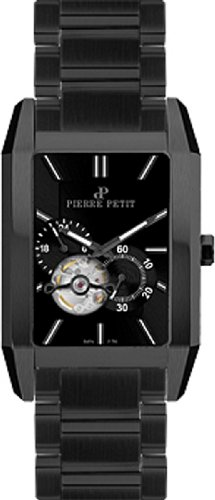 Pierre Petit Men's P-781B Serie Paris Automatic Skeleton Black PVD Rectangular Case Watch