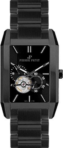 Pierre Petit Men's P-781B Serie Paris Automatic Skeleton Black PVD Rectangular Case Watch