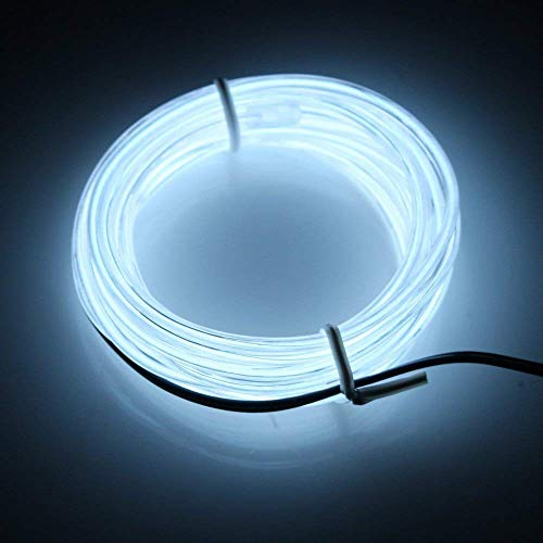 Cefrank El Wire White, Light Up Costume Party - 9ft Neon Lights Electroluminescent Wire for Christmas Halloween Decor (White 9ft)