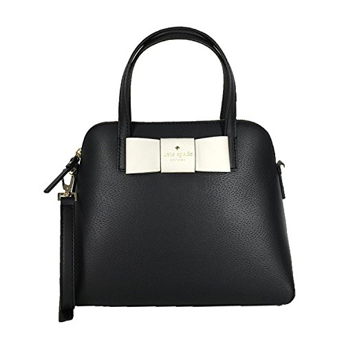 Kate Spade Robinson Street Bow Maise Leather Satchel, Black/Cream