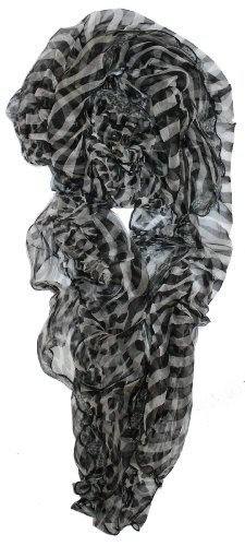 LibbySue-Light & Luxurious 100% Silk Floral Scarves in Soft Colors of Black & White Animal (Flouncy Scarf)