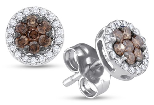 1/4 Ct Round Diamond Flower (10K White Gold Round Cut Chocolate Brown and White Diamond - Flower Shape Halo Invisible & Channel Set Studs Earrings with Secure Screw Back Closure - (1/4)