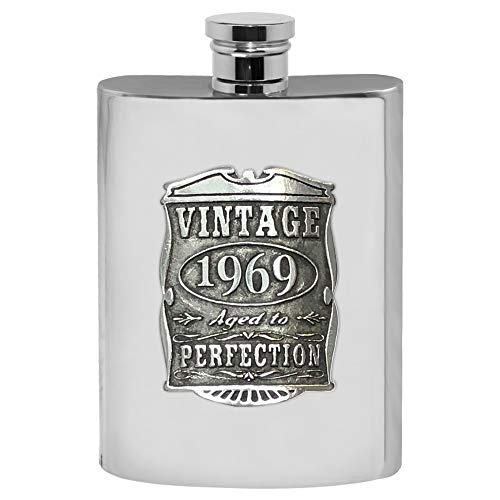 (English Pewter Company Vintage Years 1969 50th Birthday or Anniversary Pewter Liquor Hip Flask - Unique Gift Idea For Men)