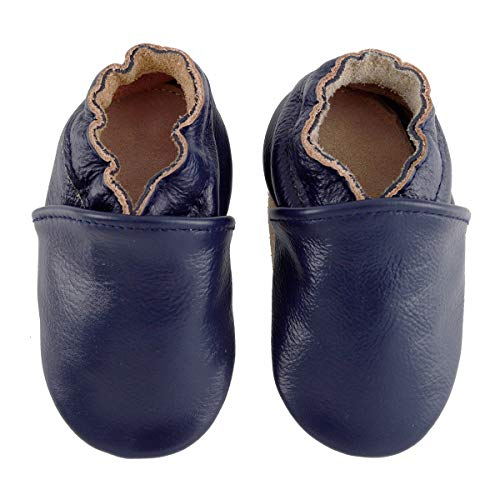 First Walker Leather Baby Shoes with Soft Soles Toddler Moccasins for Boys Girls 0-6-12-18-24 Months (6.5~7 M US Toddler (5.5in/ 12-18Mo.), Navy Blue) (Boys Leather Soft)
