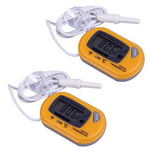 HDE 2 Pack LCD Digital Fish Tank Aquarium Thermometer (Yellow) by HDE