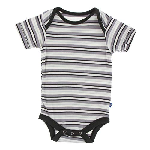 Kickee Pants Little Boys Print Short Sleeve One Piece - India Pure Stripe, 0-3 ()