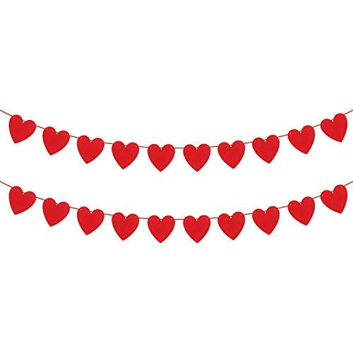 KATCHON Felt Heart Garland Banner - NO DIY - Valentines Day Banner Decor -Valentines Decorations - Anniversary, Wedding, Birthday Party Decorations -