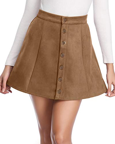 Fuinloth Women's Faux Suede Skirt Button Closure A-Line High Wasit Mini Short Skirt 2019