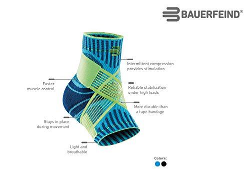 Bauerfeind Sports Ankle Support - Breathable Compression (Black, Large/Right)