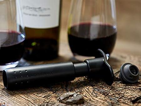 Le Creuset WA137 Set de bomba de vacío y tapones a juego Conserva el vino, Policarbonato, Negro
