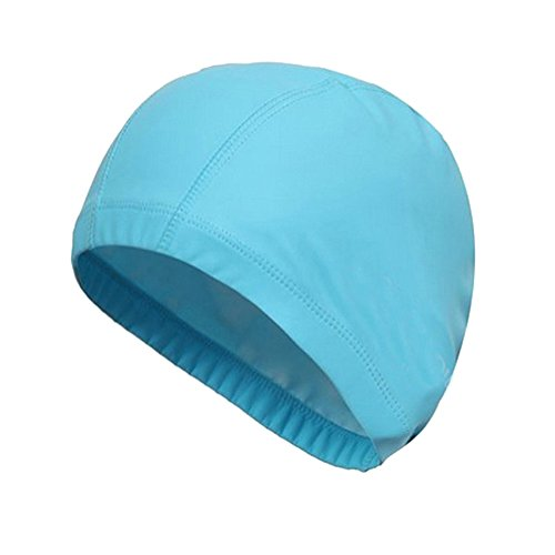 SUPOW® New Flexible Swimming Cap Durable PU Diving Hat Swimming Equipment Hats Water-Proof Swim Caps Protective Ear Caps Adult Man And Women Unisex Swimming Cap Extra Large Long Hair Swimming Cap Swimming Hat (Light Blue)