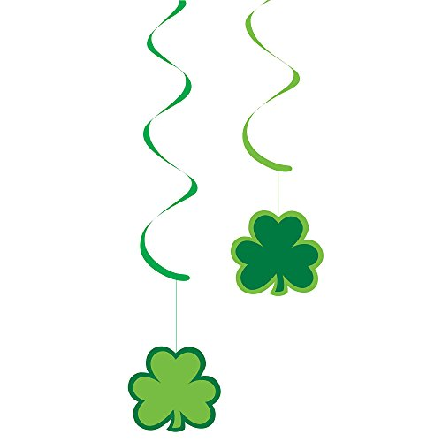 Creative Converting 5 Count Dizzy Danglers Hanging Party Decor, Paper Shamrocks, Green