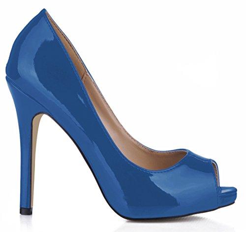 Synthétique Ouvert Aiguille bleu B Escarpins Fête Sexy Cuir Femmes Talon Bout Haut de Stiletto CHAU Vernis CHMILE Rond w1zxqHn