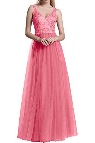 Wassermelon Rock La Brautmutterkleider Partykleider A Spitze Braut mia Ballkleider Langes Linie Abendkleider Tuell Damen On1BAnqH