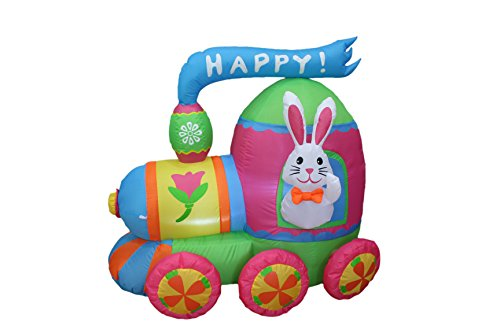 4 Foot Long Easter Inflatable Party Bunny with Bow Tie Ride on Colorful Train - Yard Blow Up Decoration (Blow Up Easter Bunny)