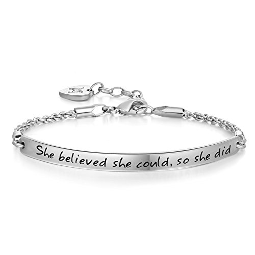 Annamate Engraved Message She Believed she Could so she did Inspirational Link Chain Cuff Bangle Bracelet, for Christmas Day, Thanksgiving Day and Birthday (White Gold)