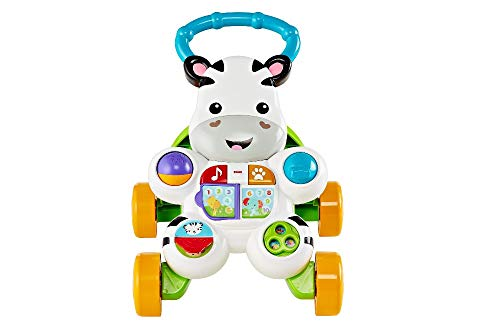 Fisher-Price Learn with Me Zebra Walker – UK English Edition, Musical Infant Walking Toy