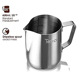 Milk Pitcher, Stainless Steel Frothing Pitcher 20oz with Spoon, Milk Steaming Frother Cup for Coffee, Latte Art from TECHO