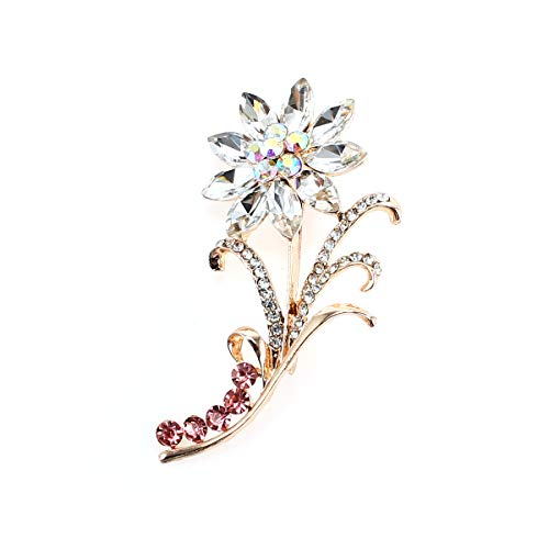 Lvtree Brooches for Women Multi-Color Rhinestone Fashion Jewelry Crystal Pearl Brooch Pins for Wedding Bouquet/Christmas/Daily/Birthday, Clear Sunflower (Crystal Brooch Sunflower)