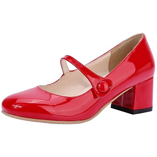 Red Janes Moyen RAZAMAZA Talon Bouton Bloc Escarpins Mary Femmes Simple HxxOncA6