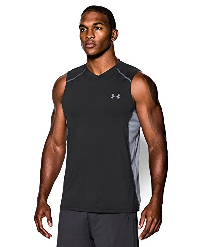 Under Armour Men's Raid Sleeveless T-Shirt, Black/Steel, XX-Large
