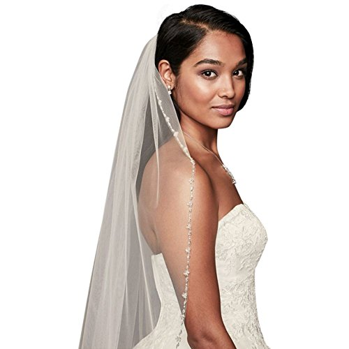 Delicate Beaded Edge Fingertip Veil Style V708, Ivory by David's Bridal