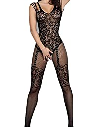 Amstt Womens Sexy lace Floral Open Crotch Mesh Lingerie Bodystockings Bodysuits